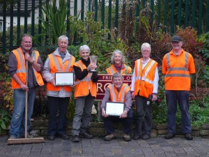 Friends of Croston Station with their NW in Bloom awards