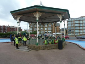 Feniscowles Primary School Wakes week re-enactment with the pupils sitting in the bandstand writing home.-1